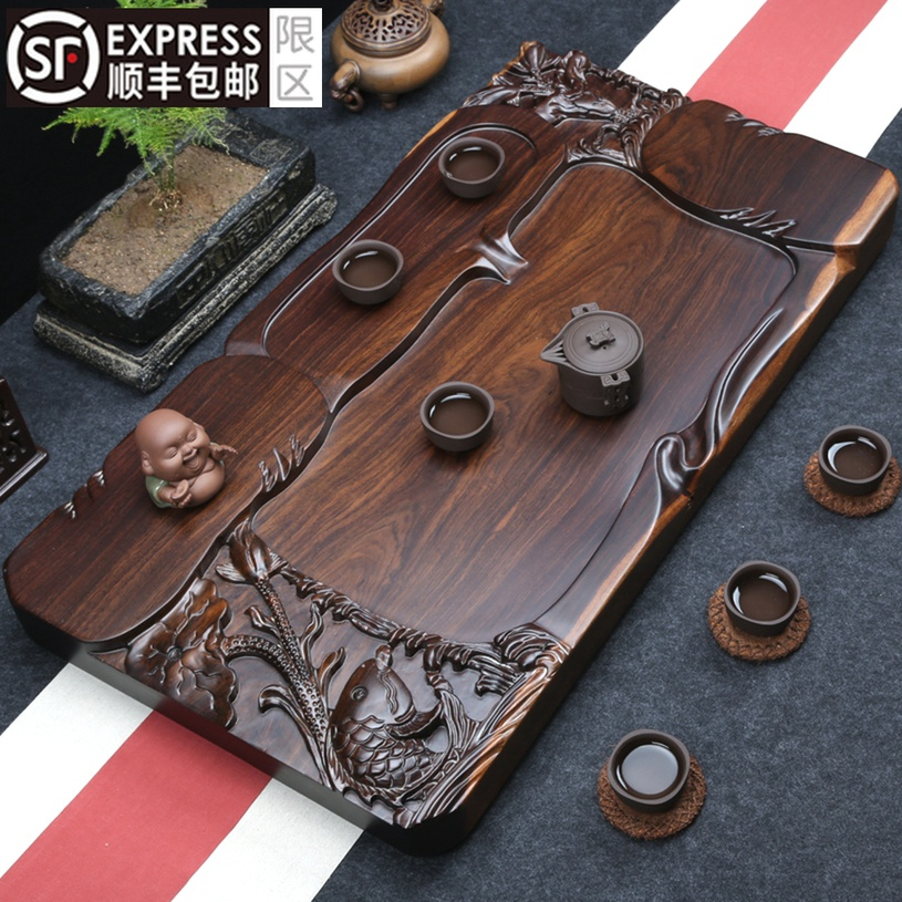 The whole block of ebony tea plate solid wood tea table simple fine carving home tea sea large plus thick drainage kung fu tea set