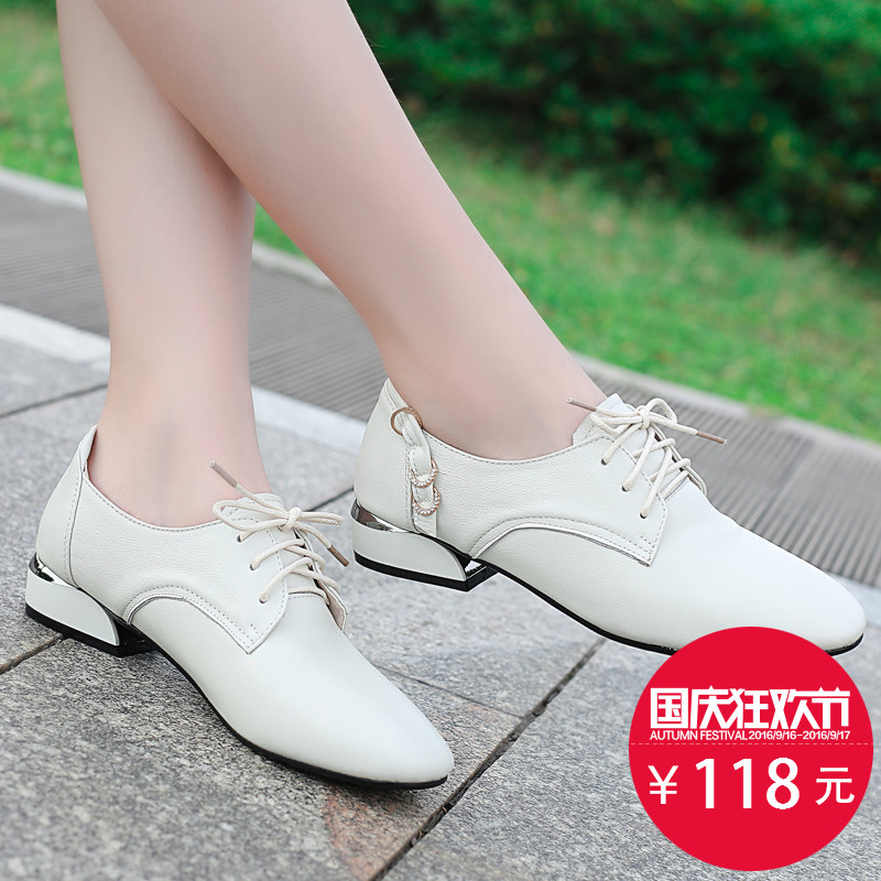 Shoes Female Autumn 2019 New Rough-heeled Single Shoes Female Leisure Leather Shoes Fashion Small White Shoes