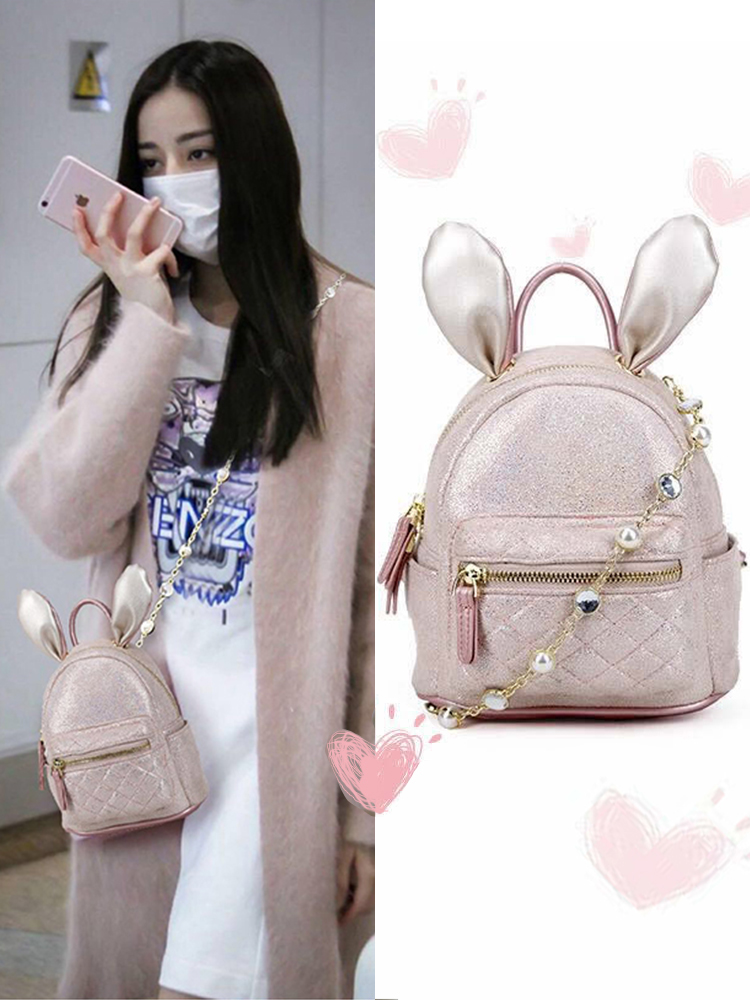 Baggage girl 2019 new Korean version of small CK slanting fashion chic rabbit ear Mini Backpack ins super bag