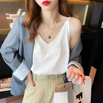 V-neck suspender womens summer ice silk thin loose sleeveless top white cotton and hemp base small vest to wear outside