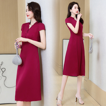 Young silk dress 2021 new summer solid color middle-aged mother temperament big mulberry silk skirt women