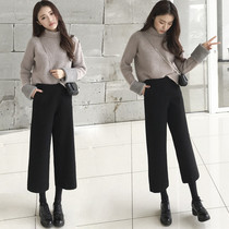 2019 autumn and Winter new womens Western small lazy wind sweater wide leg pants Hongwei two sets of fashion
