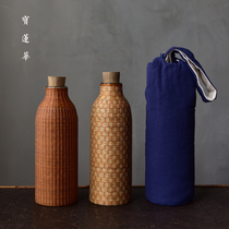 Bamboo Wire buckle vintage thermos bottle handmade bamboo glass inner gall water bottle bamboo wire buckle Porcelain portable hot kettle