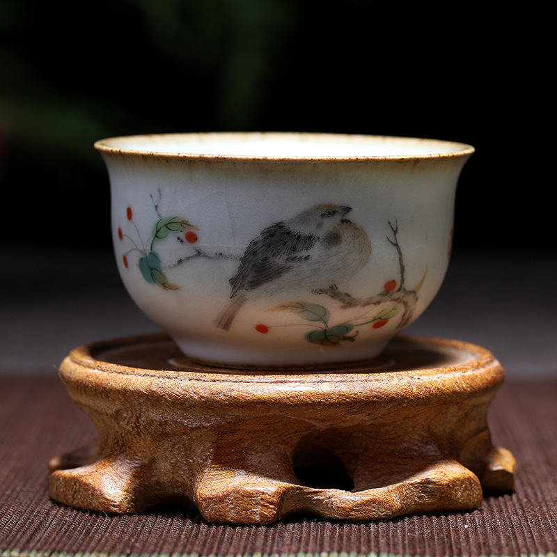 Hand-painted teacup tasting cup Retro ceramic kung fu tea set kiln into a personal single cup painted stroke teacup