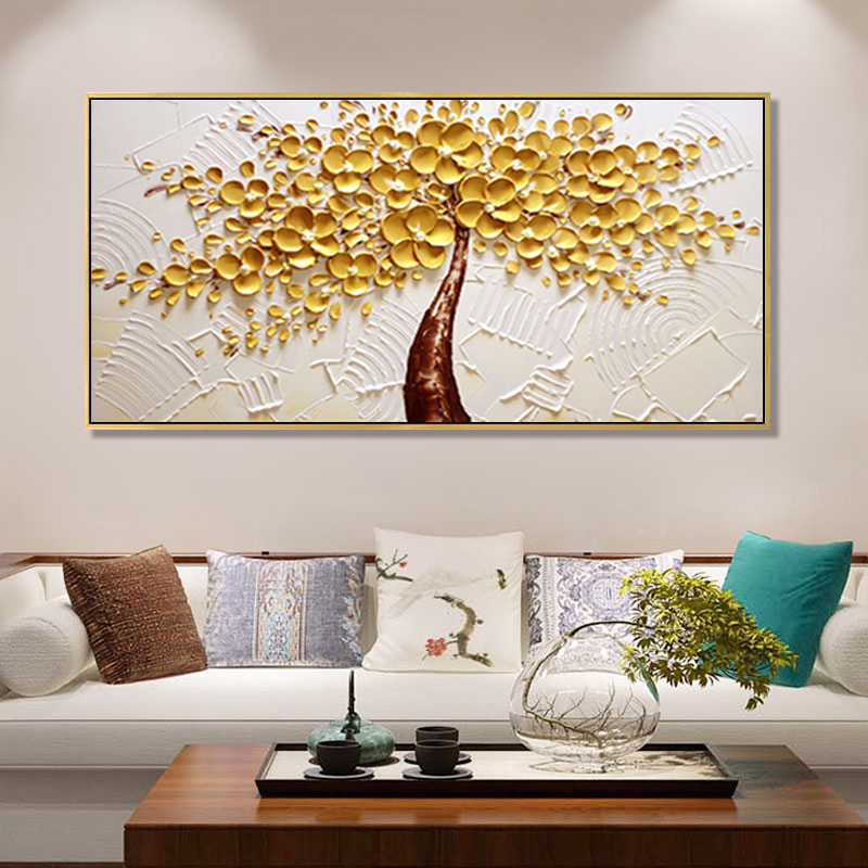 Pure hand-painted oil painting living room decoration office mural stereo Abstract bedside bedroom dining room hanging painting to make a fortune