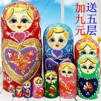Matryoshka doll 10 layers handmade wood products Creative gifts 10 layers shake sound toy decoration Basswood