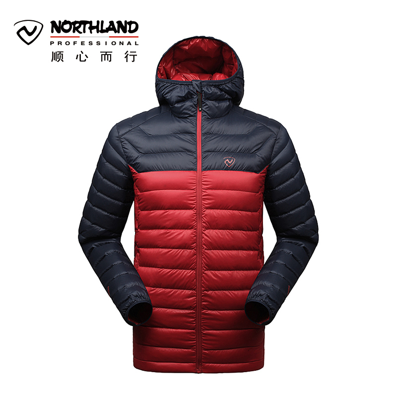 Norseland outdoor autumn and winter men's warm hooded 95% white goose down ribs down jacket GD045617