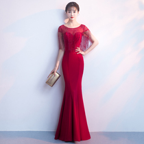 Banquet evening dress skirt 2018 new long fish tail dignified atmosphere host bride toast female summer and autumn