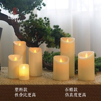 Grande phase lotus simulation électronique bougie Cheval lampe vent lampe chandelier correspondant bougie Vraie paraffine secouant bougie lumière