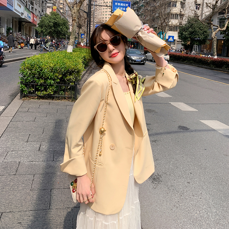 Casual yellow blazer womens 2021 new spring and autumn Korean version of loose temperament small suit top