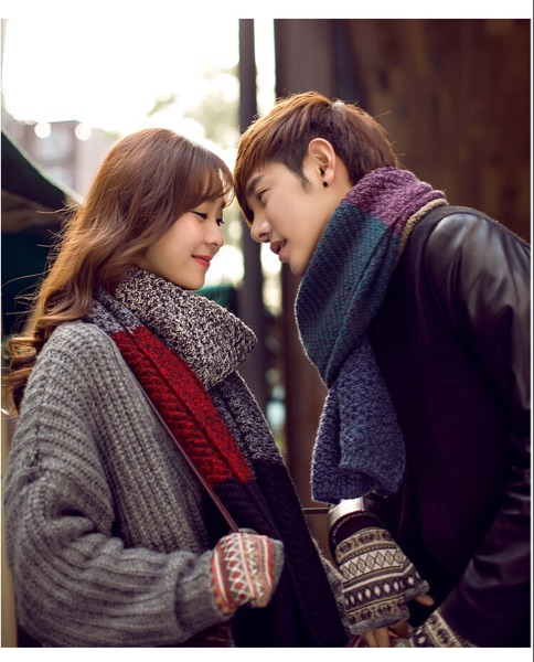 Korea Dongdaemun wool scarf men and women couple color matching knitted scarf fashion warm scarf