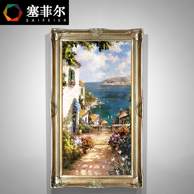 European Oil Painting Hand-painted Point Decoration Landscape Vertical Edition Landscape American Passage Living Room Wall Painting Mediterranean Sea