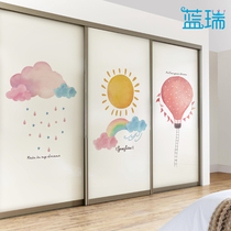 Furniture film self-adhesive renovation wardrobe, moving door, sticking paper, grinding, sliding glass doors and windows, custom-made sunny and rainy clouds