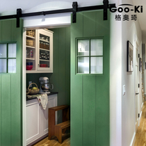 Goo-ki Geoli American Barn door door lift wheel sliding door partition gate track barn door hanging rail