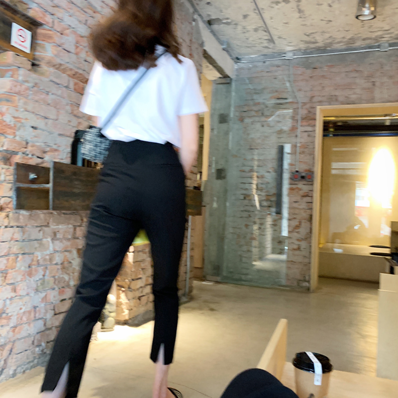 BIGYU thin into a paper piece of people spring and summer thin black pants straight small feet suit pants nine separate fork smoke pipe pants