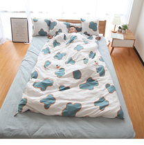 Pure cotton childrens sleeping bag thin spring and autumn winter can take off the baby primary school students anti-kick quilt thickening