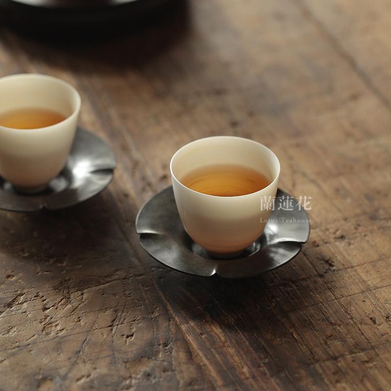 Copper antique tin sunflower mouth tea 託 cup 託 antique pure handmade