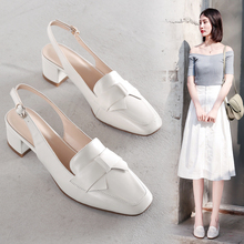 Spring and Summer 2019 New Korean version of genuine leather bow-knot high-heeled shoes with thick heels, bundled head, sandals, wedding shoes and women's shoes