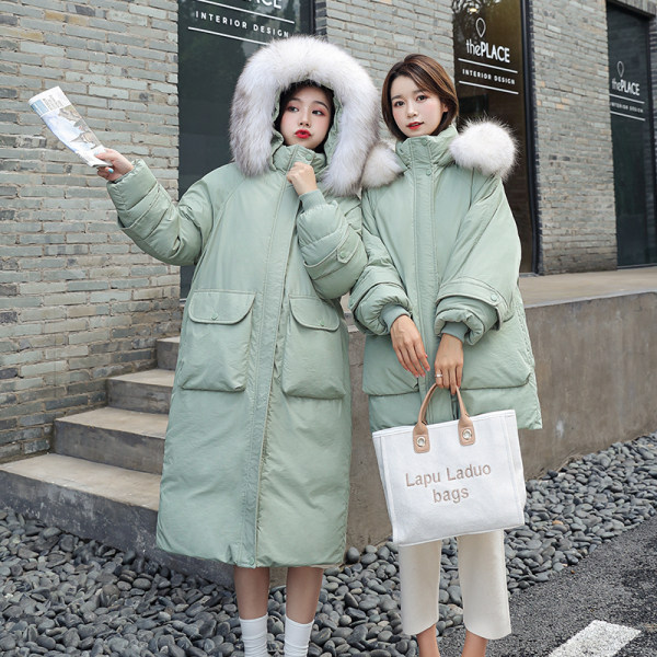 Pregnant women winter down cotton clothing late pregnancy later medium-length version of loose winter plus velvet thickened over knee cotton wool coat