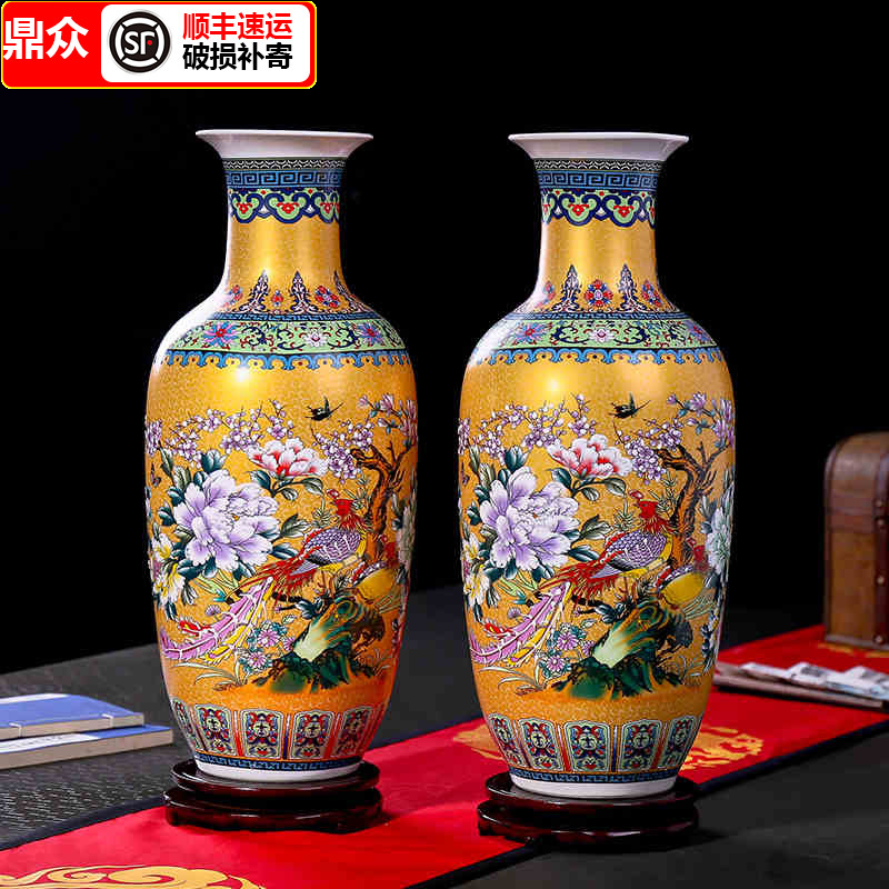 Jingdezhen ceramics simple European-style landing large vase flower arrangement modern Chinese-style living room decoration TV cabinet decoration