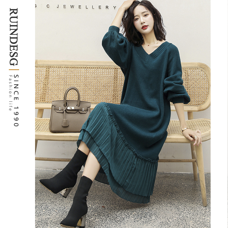 RUINDESG Dress 2020 New Autumn Winter Womens Knitted Bottom Sweater Long Skirt with Coat