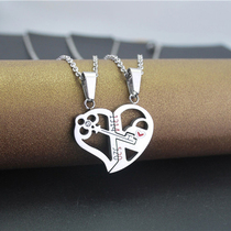 Creative 1314520 love keys with lock combination men and women couple Necklace pendant titanium steel pendant Gift