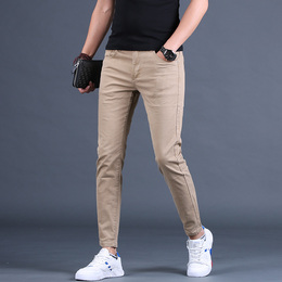 Men's khaki jeans Men's summer thin nine pants Fashion brand stretch wild summer slim foot pants