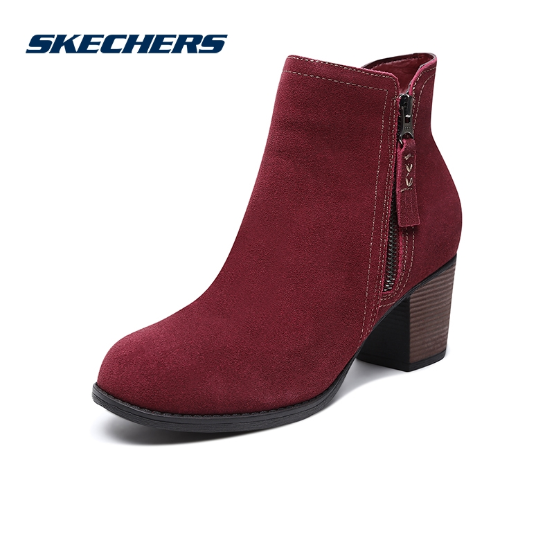 Skechers SKECHER Women's Shoes New Leather Fashion High Heel Women's Boots Thick Heel Casual Boots 48449