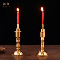 Imagine 5.5 inch double-ended pure copper candlestick Ming and Qing classical decorations for the wedding ceremony of Taiwanese Buddhist fixtures 2257