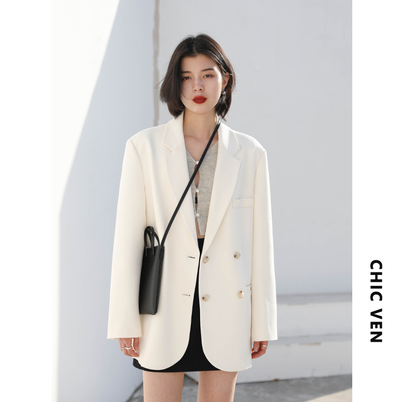 CHICVENQuiet Imagination Street casual loose double-breasted blazer inlaid pocket medium long suit