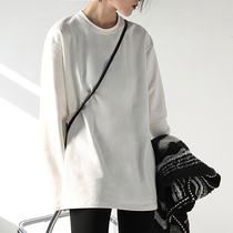 CHICVEN simple solid color loose round neck long sleeve stacked wear white T-shirt women wild long top base shirt autumn