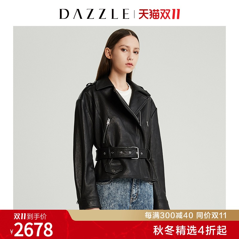 (Double 11 tip) DAZZLE Tesso Autumn Winter new locomotive wind sheep leather leather dress women 2G4L4061A