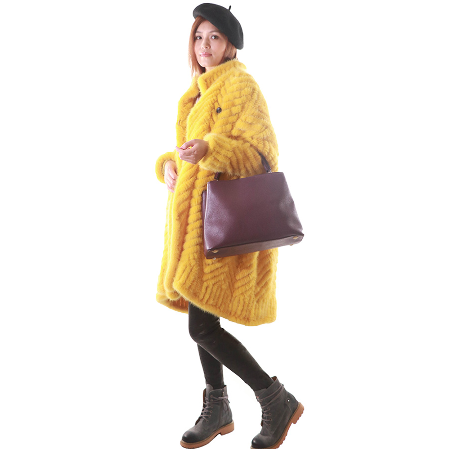 Loose oversized large size European and American casual coat winter new coat women fur import woven otter hair
