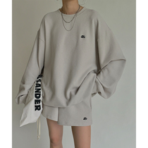 PAPERLLL Sin Room Waffle Set Women Spring and Autumn Letters Loose Sweaters Leisure Sports Style Shorts Two Piece