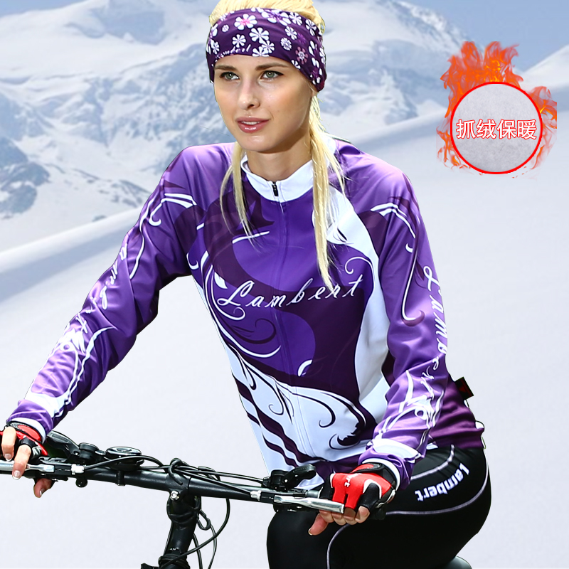 Long-sleeved women's warm bicycle mountain bike suit for spring and autumn cycling