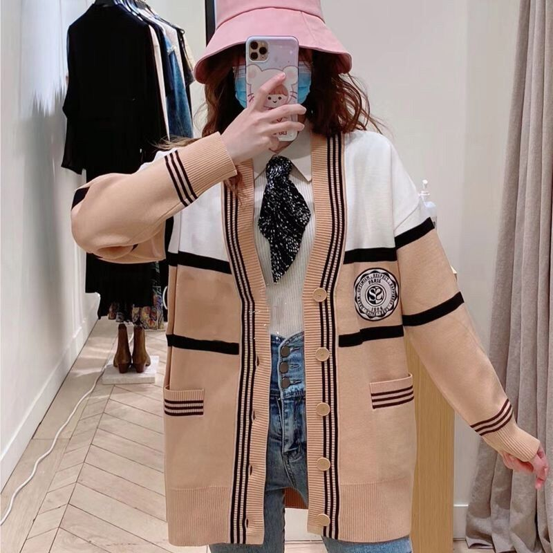 Happiness Fadai Sandro 20 Autumn Winter College wind loose-fitting knitted cardigan jacket SFPCA00215