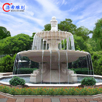 Stone fountain Outdoor courtyard Large marble running water stone bowl Full set of ponds European fountain water bowl customization