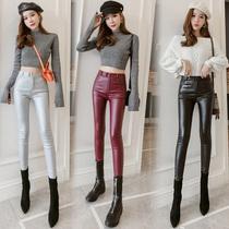 Marée marque rouge plus de Velours Pantalon En Cuir Femelle 2019 automne et DHiver nouvelle version coréenne était mince stretch serré Taille Haute petit pied leggings