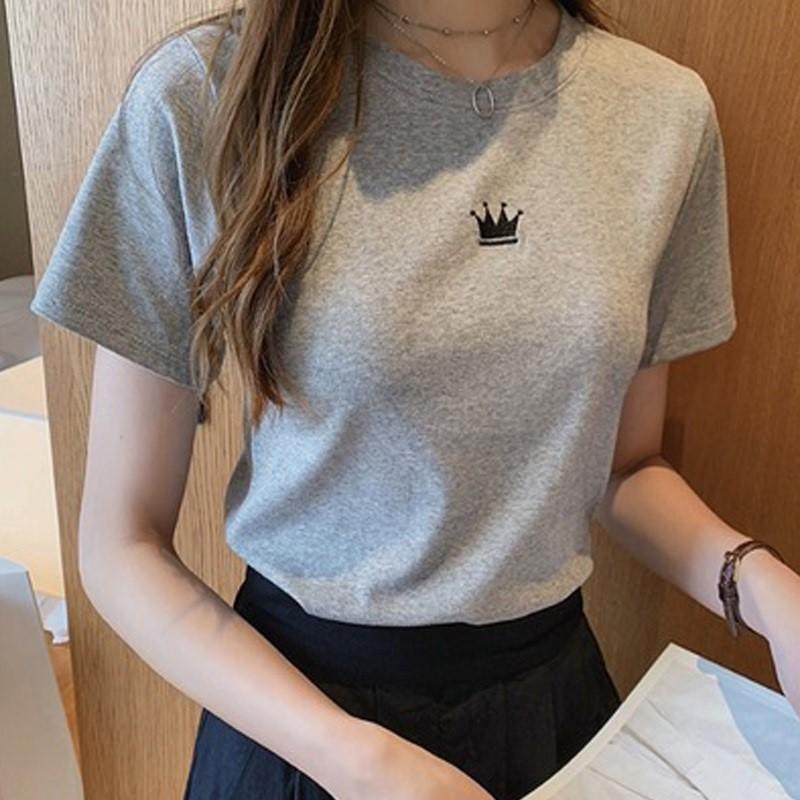 Pure cotton white short-sleeved t-shirt nun 2021 Korean version of gray loose-fitting half-sleeved T-shirt top Hong Kong style casual tide