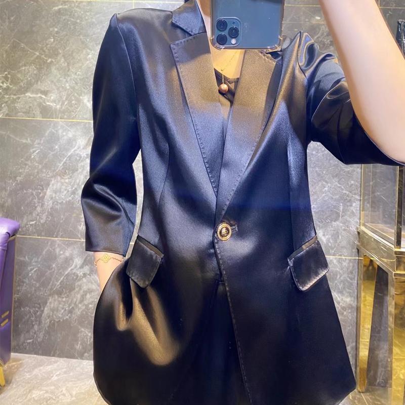 High sense suit suit women 2021 summer thin Korean acetate silk professional dress goddess fan casual suit