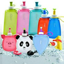 Silicone water bag outdoor student cute Korean water bag folding kettle drinking water practical portable heart silicone children