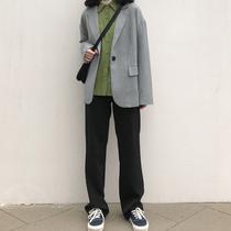 Костюм широкие брюки женщины весна осень высокая талия свободные драпированные черные прямые брюки тонкие случайные падение швабра брюки