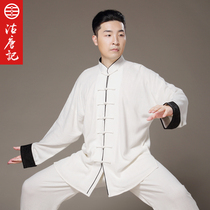 Chinese style washing linen taiji serving men and women cotton Hemp practice suit Spring and Autumn winter morning exercise Zen Suit