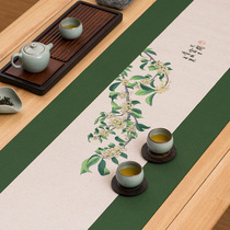 Tea table waterproof linen table flag Chinese Zen cotton linen Chinese style tea ceremony tea set mat high-end tea tablecloth