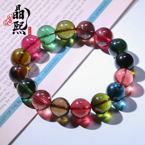 Jingxi old material color candy tourmaline bracelet for women single circle natural rainbow watermelon tourmaline hand string for women