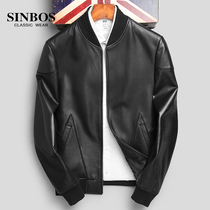 (Specials)Haining leather leather mens baseball clothing slim fit leather jacket mens sheep skin youth coat tide