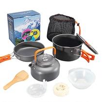 Outdoor 1-2-3 people set pot portable stove pot combination picnic stove pot multi-purpose cookware non-stick