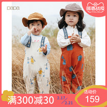 papa climbing spring Cotton men and women baby corduroy pants baby pants open crotch 0-3 years old