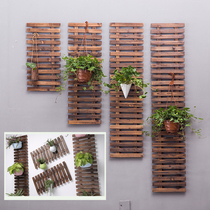 Solid wood wall decoration hanging flower frame courtyard wall-mounted mesh climbing rattan flower rack outdoor carbonized anticorrosive wood Fence