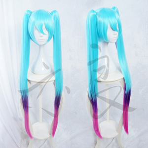 League of Legends Sona cosplay wig Arcade version 100cm gredient blue bhiner cosplay costume